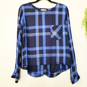 Anthropologie Cloth & Stone Blue Plaid Lace Up Top